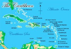 Caribbean luxury yacht charter sailing map
